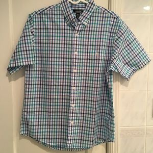 Blue and Green Plaid Short Sleeve Dress Shirt